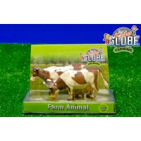 Lot de 2 vaches marrons debouts