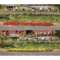 10 bandes de fleurs jaunes et rouges de 5-6 mm /  10 cm  . Héki