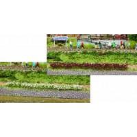 10 bandes de fleurs blanches et rouges de 5-6 mm / 10 cm  . Héki